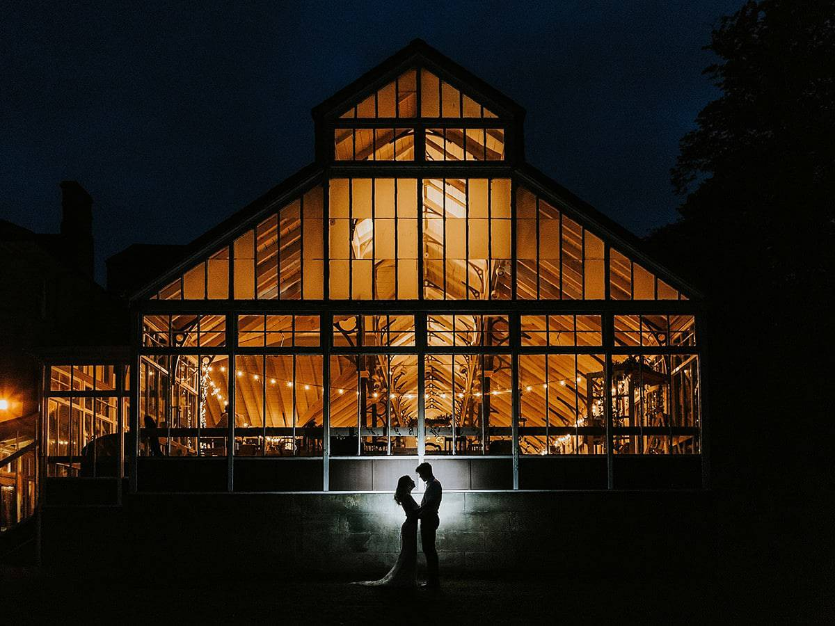 north east wedding photographer hexham winter gardens flash silhouette