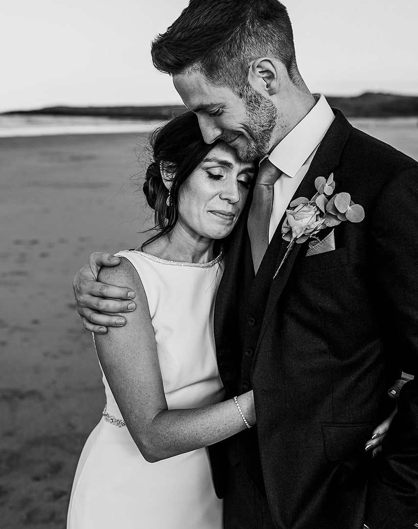 north east wedding photographer andy turner photography black and white portrait bride and groom on beach